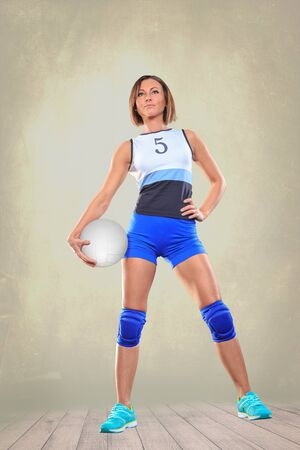 female volleyball: female volleyball player on the volleyball court