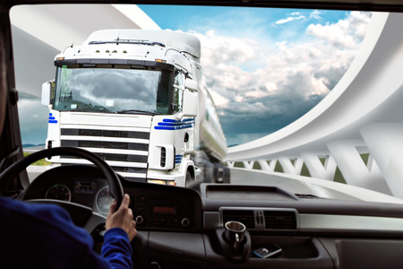 truck driver: driver view from the cockpit of a truck on the road Stock Photo