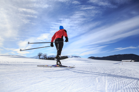 snow ski: A man cross-country skiing on the trail in Bavaria