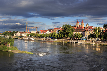river bank: Danube river bank in Regensburg, Bavaria, Germany