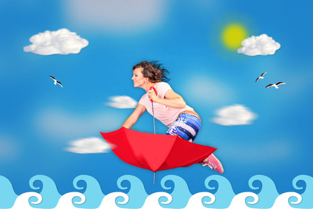 unrealistic: woman flying on an umbrella in unrealistic cartoon style