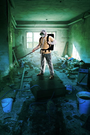 protective suit: contamination in a old and squalid building