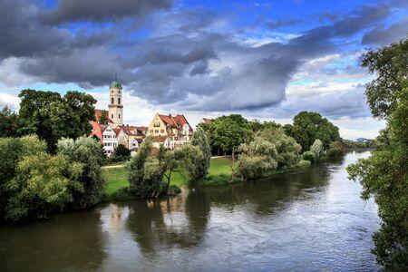 regensburg: Danube river bank in Regensburg, Bavaria, Germany