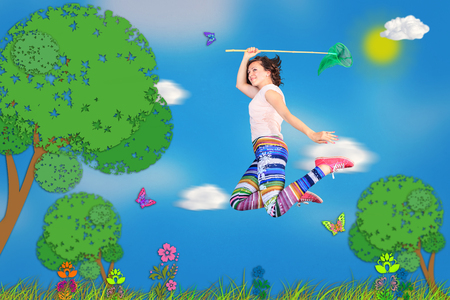 unrealistic: woman hunting butterfly in unrealistic cartoon style Stock Photo
