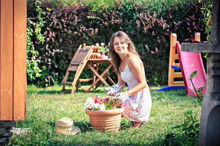 working woman: young woman working in the garden