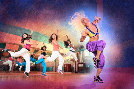 aerobic exercise: young women at aerobics or fitness training Stock Photo