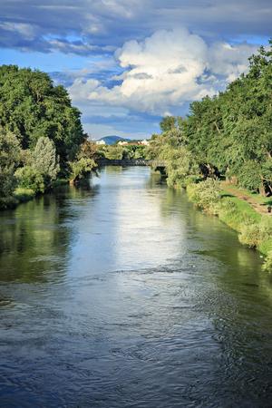 regensburg: REGENSBURG, BAVARIA, GERMANY - JULY, 2015: Danube river bank in Regensburg