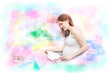 gestation: portrait of a pregnant woman at home
