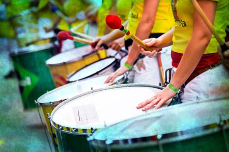 ドラム グループのサンバ カーニバルのシーン 写真素材