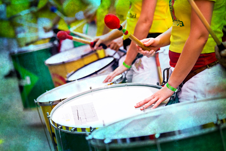 Scenes of Samba carnival with drum group