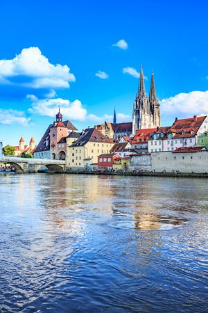 regensburg: REGENSBURG, BAVARIA, GERMANY - JULY, 2015: Town view over Danube river in Regensburg