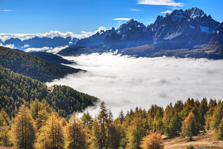 dolomite: A hiking trail by Helm peak and Drei Zinnen area at Fall in Dolomite Alps, Italy, Europe.