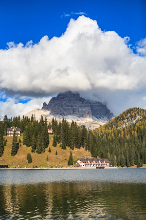 lake misurina: Misurina lake in Dolomite Alps, Italy, Europe