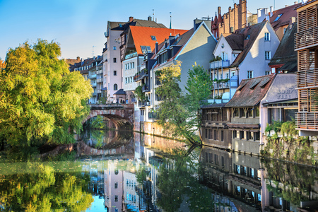 The riverside of Pegnitz river in Nuremberg town, Germany Reklamní fotografie - 67009565