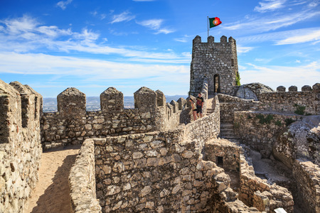 SINTRA, PORTUGAL - CIRCA OCTOBER, 2016:  The Castelo dos Mouros alias The Castle of the Moors in Sintra, Portugal