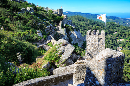 moors: SINTRA, PORTUGAL - CIRCA OCTOBER, 2016:  The Castelo dos Mouros alias The Castle of the Moors in Sintra, Portugal