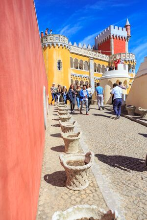 pena: SINTRA, PORTUGAL - CIRCA OCTOBER, 2016:  The Pena Park with National Palace of Pena in Sintra, Portugal Editorial