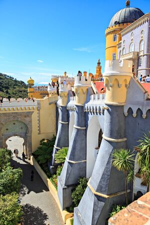 SINTRA, PORTUGAL - CIRCA OCTOBER, 2016:  The Pena Park with National Palace of Pena in Sintra, Portugal Editorial