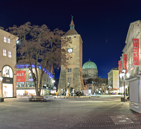 NUREMBERG, GERMANY - CIRCA OCTOBER, 2016: The streets of Nuremberg town by night, Germany