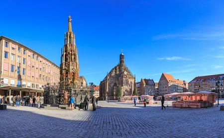 NUREMBERG, GERMANY - CIRCA OCTOBER, 2016: The Nuernberger Hauptmarkt in Nuremberg town, Germany