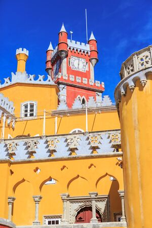 pena: The Pena Park with National Palace of Pena in Sintra, Portugal