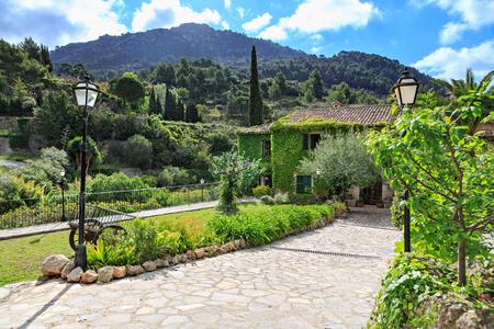 VALLDEMOSSA, MALLORCA, BALEARIC ISLANDS, SPAIN - CIRCA MAI, 2016:  Valldemossa town on Mallorca Island, the Balearic Islands in the Mediterranean Sea, Spain