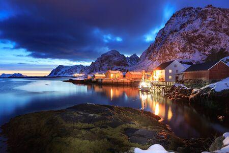 The fisherman village Sorvagen on Lofoten Islands by night, Norway