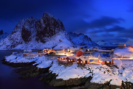 The fisherman village Hamnoy on Lofoten Islands by night, Norway