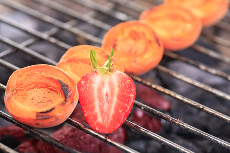 close up shut of grilled apricots