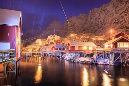 The fisherman village called A i Lofoten on Lofoten Islands by night, Norway Stock Photo