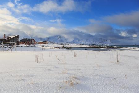 Ramberg village on the coast of Lofoten Islands