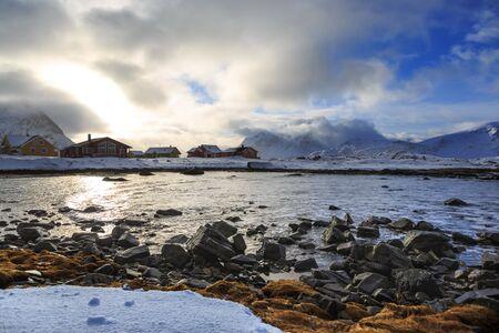The coast of Barents Sea near Ramberg village on Lofoten Islands, Norway