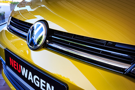 WOLFSBURG, GERMANY - CIRCA JULY 17: The front grill and Logo of VW Golf 8 with electric engine
