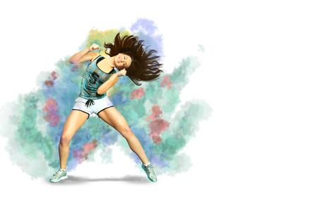 A young woman dancing aerobics, zumba or fitness dance 免版税图像