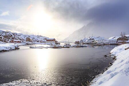 The fisherman village Sund on Lofoten Islands, Norway Stock Photo