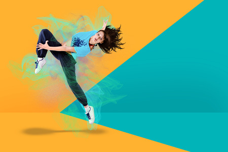 a young woman dancing at fitness ecercise Stock Photo