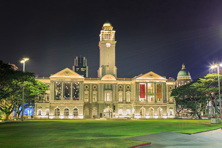 SINGAPORE, SINGAPORE - CIRCA SEPTEMBER, 2017:  The Victoria Theatre of Singapore town by night, Singapore. Editorial
