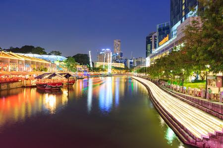 SINGAPORE, SINGAPORE - CIRCA SEPTEMBER, 2017:  Clarke Quay of Singapore town by night, Singapore. 報道画像