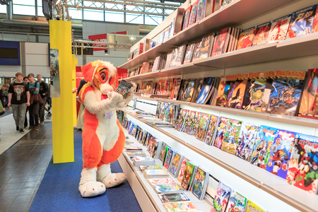 LEIPZIG, GERMANY - MARCH 16, 2018: The Manga-Comic-Convention at the book fair Leipziger Buchmesse 2018 in Leipzig, Germany Standard-Bild - 117048735