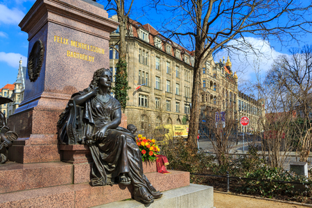 LEIPZIG, GERMANY - CIRCA MARCH, 2018: The Felix Mendelssohn Bartholdy monument of Leipzig town in Germany