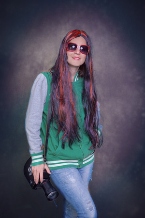 the studio portrait of a girl in the style of the 60s