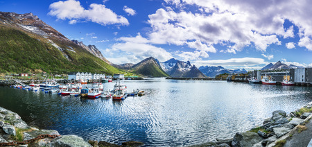 The port of Husoy village on Senja Island beyond the Polar Circle in Norway 免版税图像 - 103309541