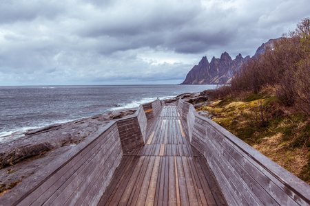 The landscape view of Senja Island from Tungeneset picnic in Norway 写真素材