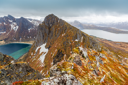 The landscape view of Senja Island from mountain Husfjellet in Norway