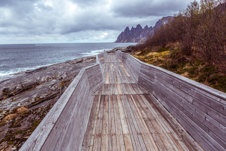 The landscape view of Senja Island from Tungeneset picnic in Norway Stock Photo
