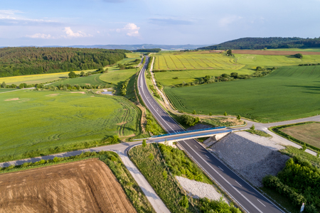 Stretch of the autobahn and rural lansdscape near Coburg in Germany Stock Photo