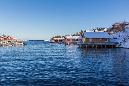 The fisherman village Sorvagen on Lofoten Islands, Norway Stockfoto