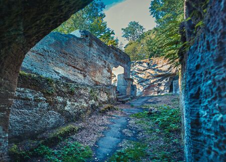Ruin of castle Rotenhan in Hassberge county, Bavaria, Germany 스톡 콘텐츠