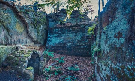 Ruin of castle Burgstall Gutenfels in Hassberge county near Buch, Bavaria, Germany 스톡 콘텐츠