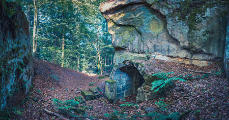 Ruin of castle Burgstall Gutenfels in Hassberge county near Buch, Bavaria, Germany Editorial